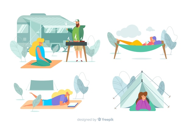 Pack di persone campeggio design piatto