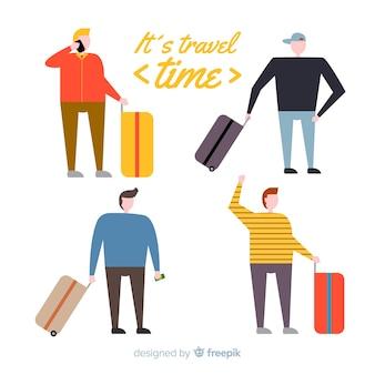 Pack di persone disegnate a mano in viaggio