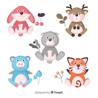 Pack di simpatici animali disegnati a mano