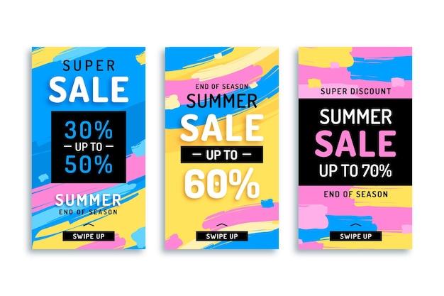 Pack di storie di instagram di vendita estiva di fine stagione