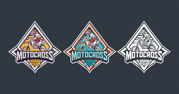 Pack modello di progettazione etichetta logo distintivo vintage premium motocross extreme club