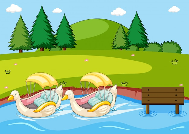 Paddle duck boat nel parco