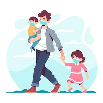 Padre che cammina con i bambini che indossano la maschera di protezione