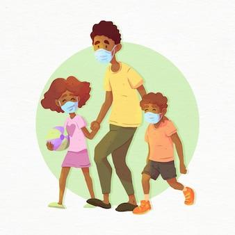 Padre che cammina con i bambini con maschere mediche