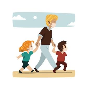 Padre che cammina con i loro bambini con maschere mediche