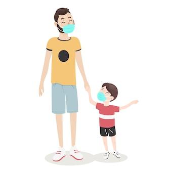 Padre che cammina con suo figlio