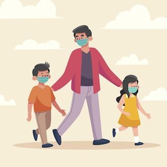 Padre che cammina i bambini all'aperto con maschere mediche
