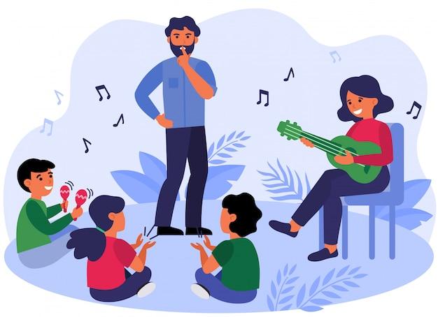 Padre che chiede ai bambini di mantenere il silenzio
