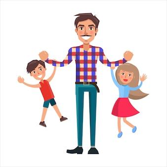 Padre che gioca con suo figlio e la piccola figlia che li tiene in braccio,