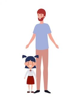 Padre con figlia di ritorno a scuola
