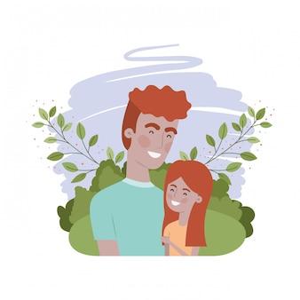 Padre con figlia personaggio avatar