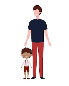 Padre con figlio di ritorno a scuola