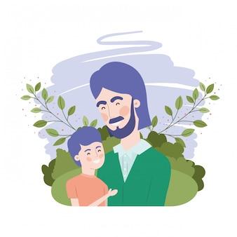 Padre con figlio personaggio avatar