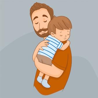 Padre con il suo bambino carino
