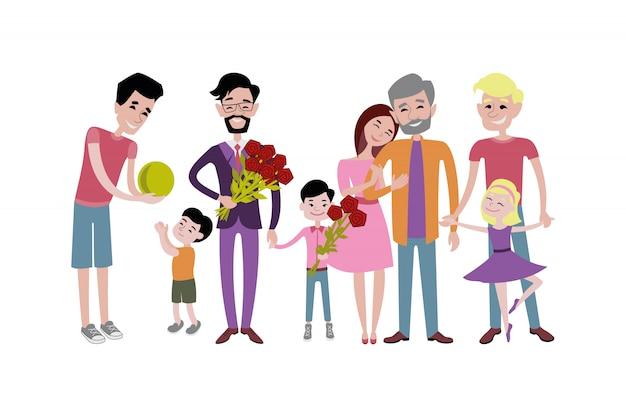 Padre e figli insieme carattere vettoriale.