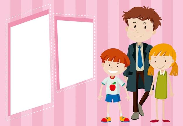 Padre e figli sullo sfondo