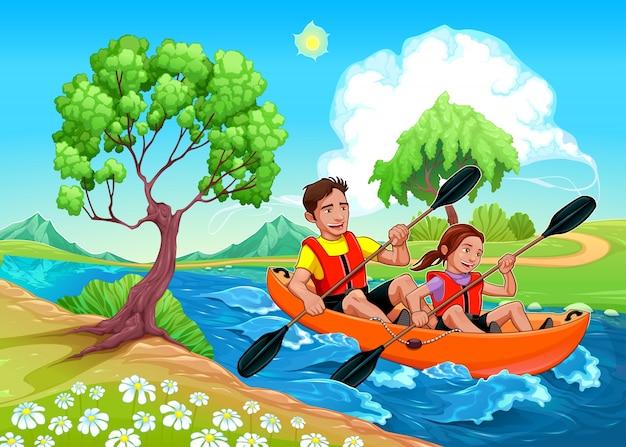 Padre e figlia in kayak nel fiume vector cartoon illustrazione