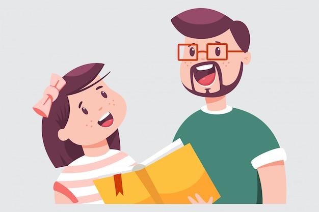 Padre e figlia stanno leggendo un libro. l'uomo insegna a un bambino a leggere. illustrazione piana del fumetto di vettore isolata