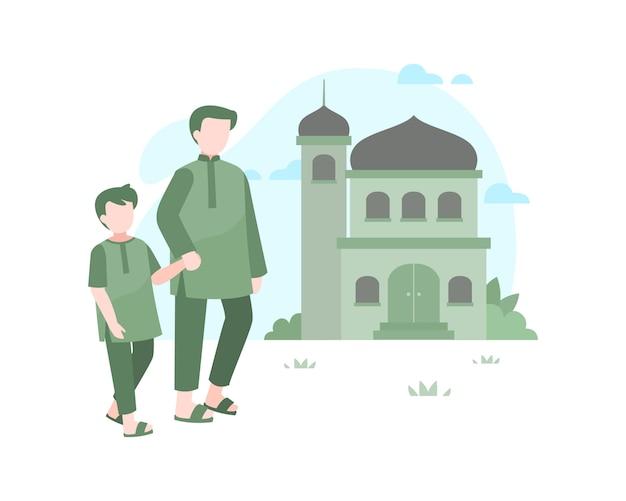 Padre e figlio che camminano alla moschea