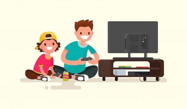 Padre e figlio che giocano i video giochi su un'illustrazione della console del gioco