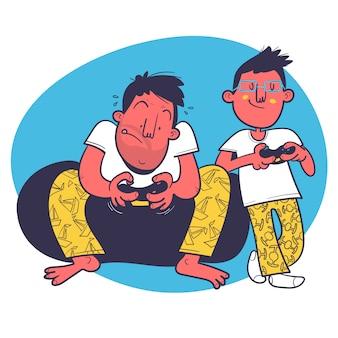 Padre e figlio giocano ai videogiochi