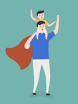 Padre e figlio giocano in un gioco di supereroi