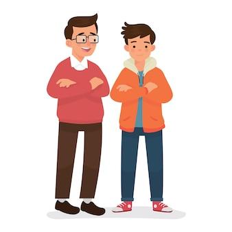 Padre e figlio in piedi insieme