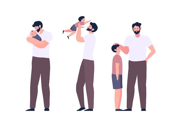Padre e figlio svolgono attività di legame familiare e trascorrono del tempo insieme. concetto di festa del papà. ciclo di vita papà e figli illustrazione