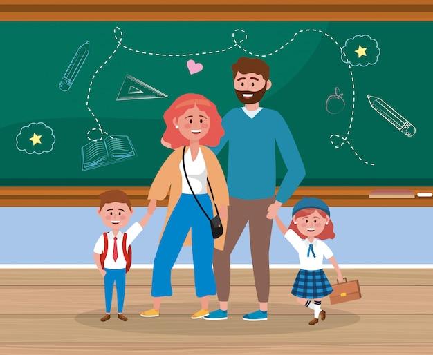 Padre e madre con i loro studenti ragazza e ragazzo con lo zaino