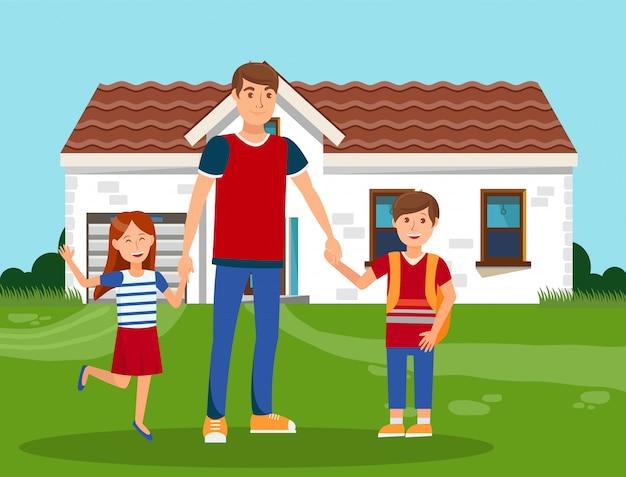 Padre felice con l'illustrazione di vettore di colore dei bambini