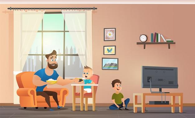 Padre felice divertendosi, tempo di spesa per bambini