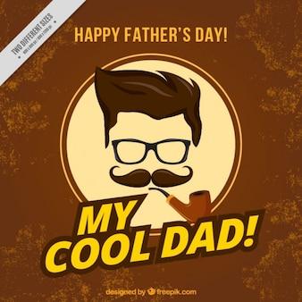 Padre hipster con una carta di tubazione