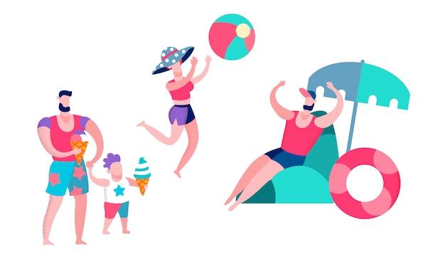 Padre, madre e figlio che si divertono nel resort,