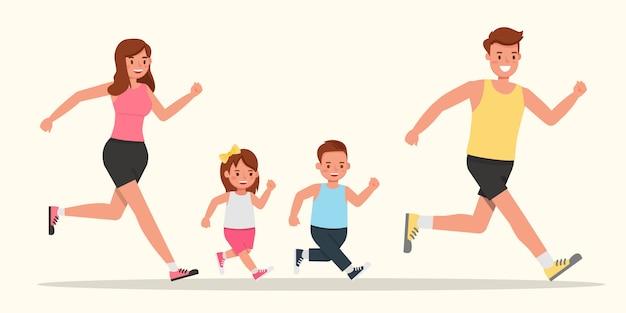 Padre, madre, figlia e figlio corrono.