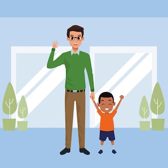 Padre single con cartone animato piccolo figlio