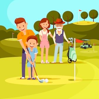 Padre teaching son playing golf