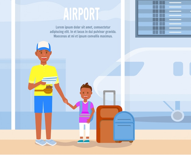 Padre viaggio con personaggi dei cartoni animati di piccolo figlio.