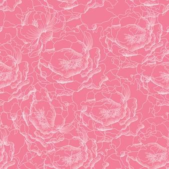 Paeonia senza cuciture fiorisce il fondo astratto.