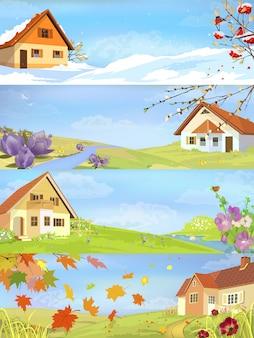 Paesaggi dell'anno delle quattro stagioni