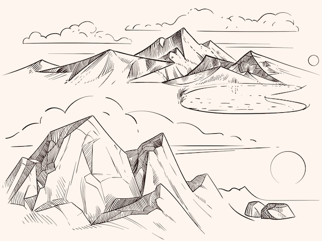 Paesaggi di montagna disegnati a mano con lago, pietre, clounds