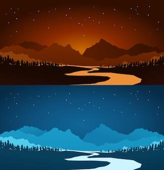 Paesaggi di montagna in vari colori