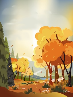 Paesaggi di panorama di fantasia della campagna in autunno, panoramica di metà autunno con campo di fattoria, montagne, erba selvatica e foglie che cadono dagli alberi nel fogliame giallo. paesaggio di paese delle meraviglie nella stagione autunnale