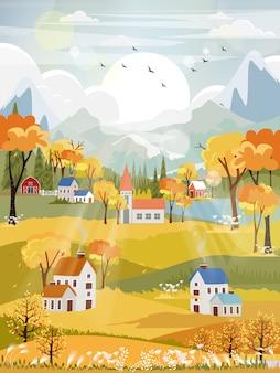 Paesaggi di panorama di fantasia della campagna in autunno