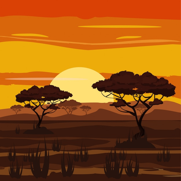Paesaggio africano, tramonto, savana, natura, alberi, regione selvaggia, stile del fumetto, illustrazione di vettore