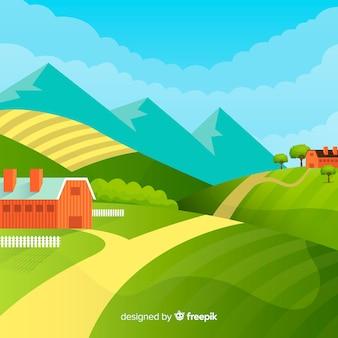 Paesaggio agricolo in stile piatto