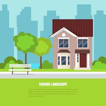 Paesaggio alla moda moderno del sobborgo con la casa, alberi nell'iarda sul backgrou della città e dell'erba verde