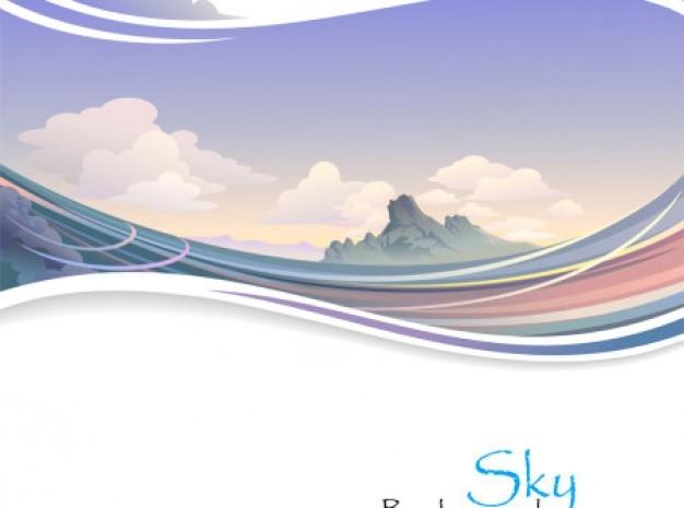 Paesaggio alpino alba con onde di sfondo