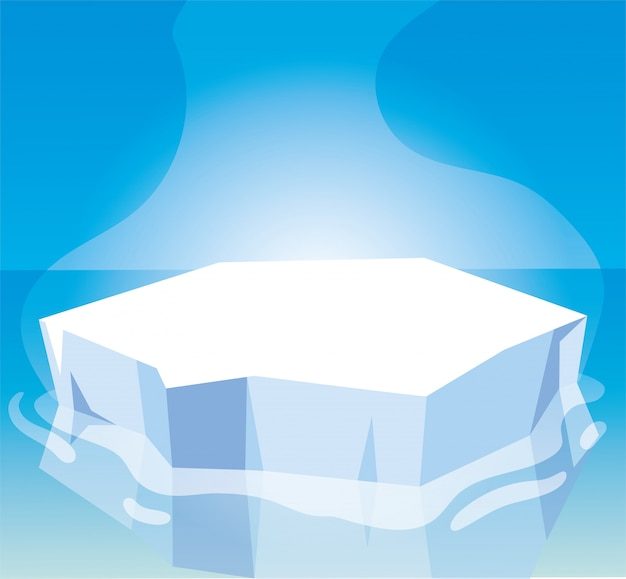 Paesaggio artico con cielo blu e iceberg, polo nord