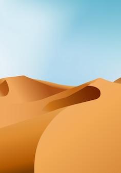 Paesaggio asciutto senza fine verticale del deserto con le dune di sabbia e la chiara illustrazione del cielo blu.