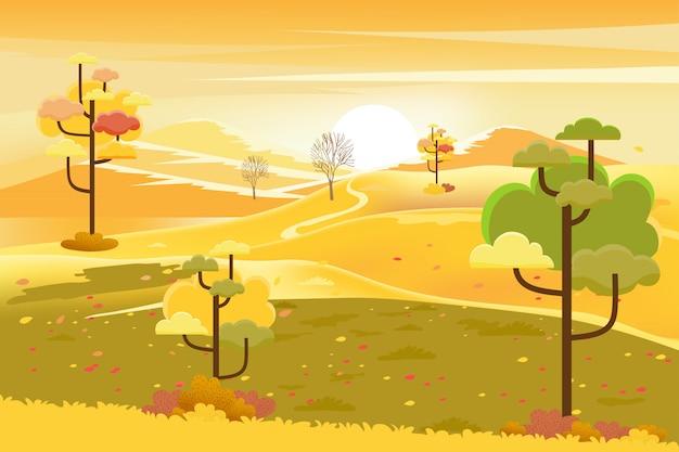 Paesaggio autunnale con alberi